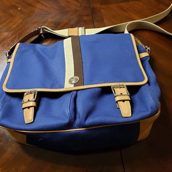 Coach Canvas & Leather Laptop/Book Messenger Bag
